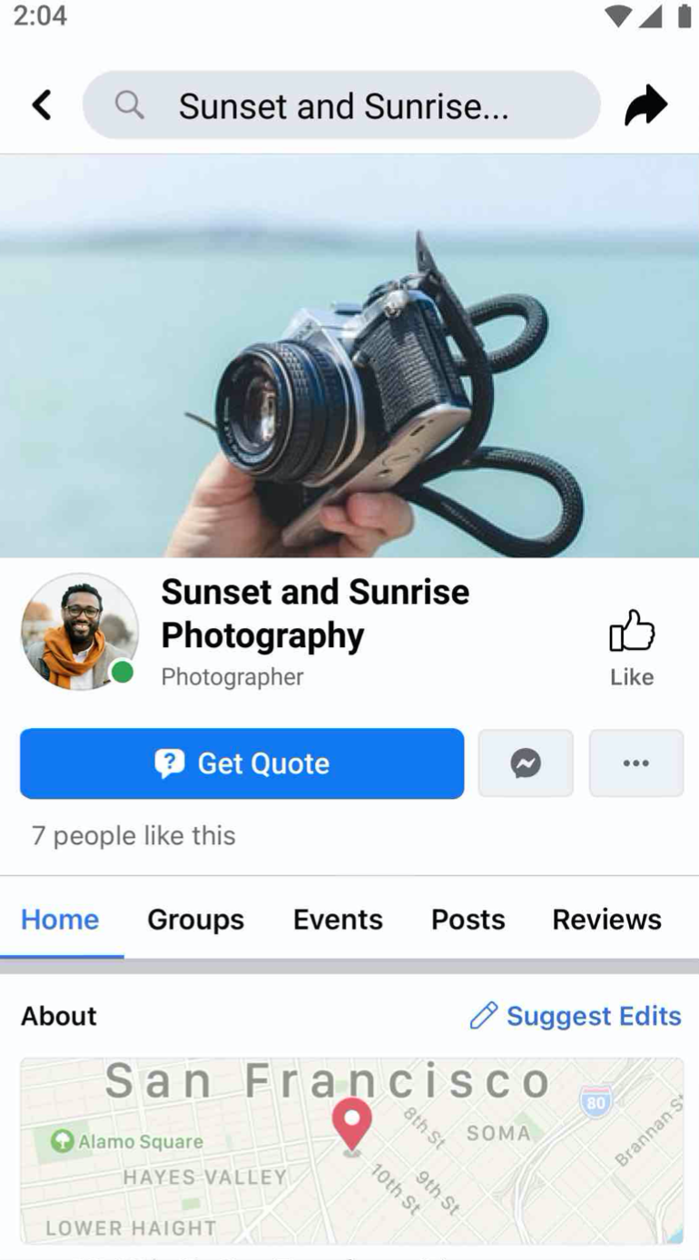 new Facebook feature to request quote CTA button
