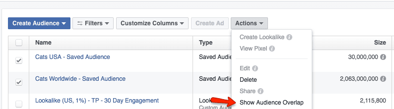 Facebook advertising - show audience overlap feature in the Ads Manager dashboard