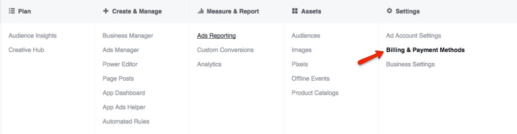 Facebook ads manager navigational menu