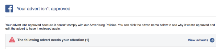 Facebook ad not approved dialog