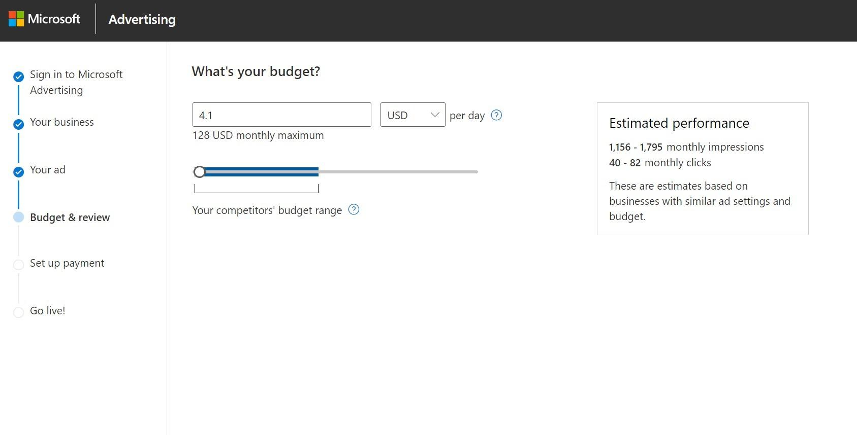 Setting a monthly maximum budget in Microsoft Advertising (Bing Ads)