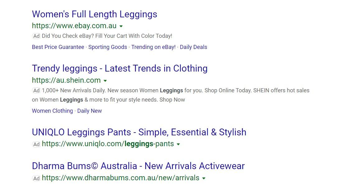 Microsoft Advertising ads in search results