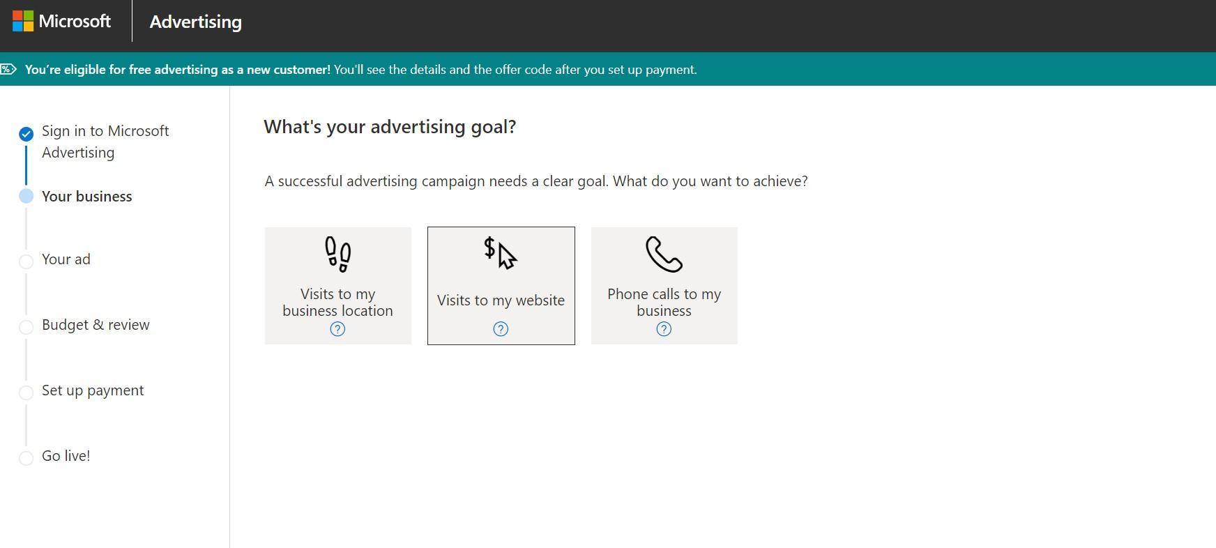 Picking an advertising goal in Microsoft Advertising (Bing Ads)