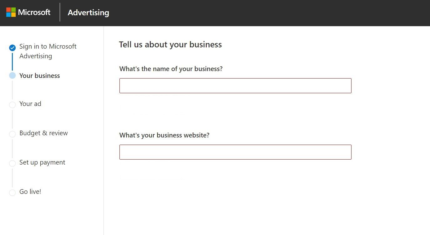 Setting up a Microsoft Advertising (Bing Ads) account