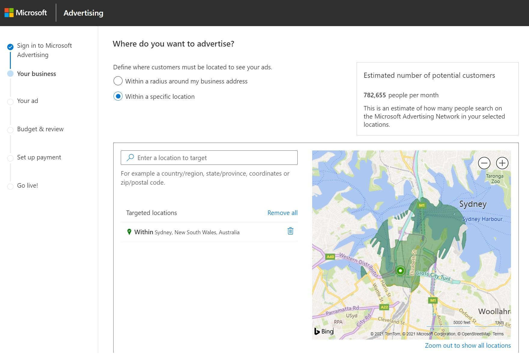 Setting up targeting in Microsoft Advertising (Bing Ads) dashboard